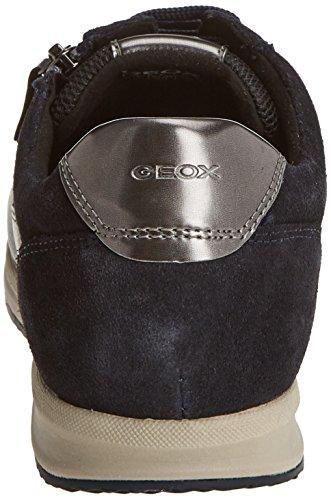 Geox Damen D Avery A Sneaker Grau (Dk Grey/Navy)