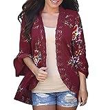 OverDose Fraun Chiffon-Spitze Blumen Öffnen Sie Cape Tops Casual Mantel Lose Bluse Kimono Jacke Cardigan(A-Wine,S)