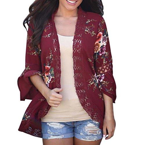 OverDose Fraun Chiffon-Spitze Blumen Öffnen Sie Cape Tops Casual Mantel Lose Bluse Kimono Jacke Cardigan(A-Wine,XL)