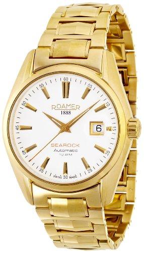 Roamer-Felltrimmer Searock Herren Automatik Uhr mit weißem Zifferblatt Analog-Anzeige und Gold Armband Edelstahl 210633482520