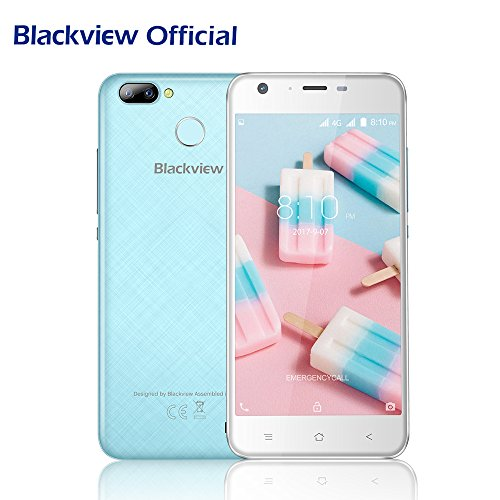 Günstiges Handy Ohne Vertrag,Blackview A7 Pro 4G Dual SIM Smartphone Android 7.0 Nougat 5.0 Zoll HD Touch Display mit 2 hinteren Kameras(8MP + 0.3MP ), Quad-Core Prozessor 16 GB ROM +2 GB RAM mit Fingerabdruck ID Sensor