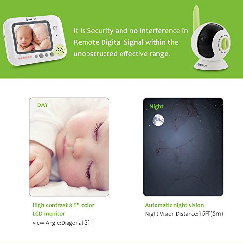 SUNLUXY 3.5 inch Color LCD Wireless Digital Audio Video Baby Monitor Security Camera Two Way Talk with Night Vision and Lullabies
