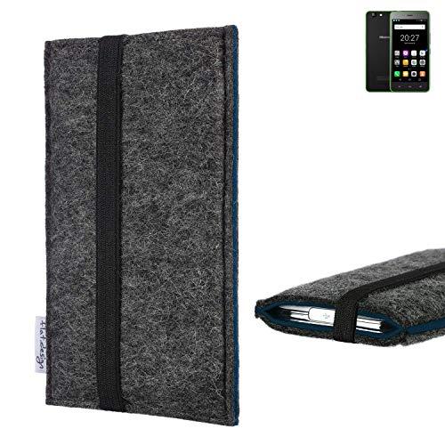 flat.design Handyhülle Lagoa für Hisense Rock Lite | Farbe: anthrazit/blau | Smartphone-Tasche aus Filz | Handy Schutzhülle| Handytasche Made in Germany