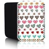 Biz-E-Bee Exclusive 'CUTE LOVE HEARTS 7HD' Multi-coloured Neoprene Pouch for NEW AMAZON KINDLE FIRE HDX 7 inch 7