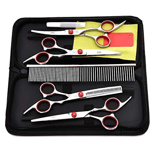 QNMM Dog Grooming Scissors Kit Edelstahl gerade, dünner und Gebogene scharfe Schere für kleine Hunde, Katzen -