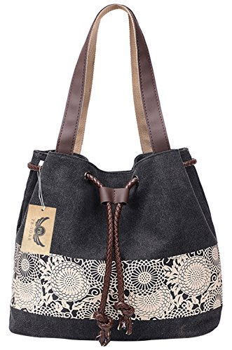 pb-soar-womens-ladies-fashion-casual-canvas-drawstring-handbag-tote-bag-shoulder-bag-black