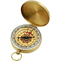 GWHOLE Portable Pocket Watch Flip-Open Compass Brass Metal Camping Hiking Compass