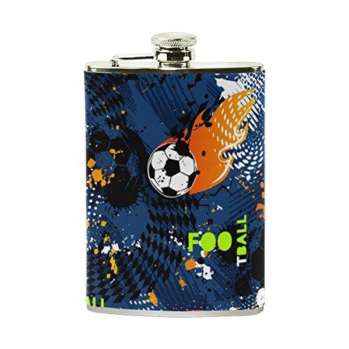 jeansame Personalisierte Hip Drink Fläschchen 8Oz aus Edelstahl für Damen Herren Vintage Football Fußball Spiele Sport