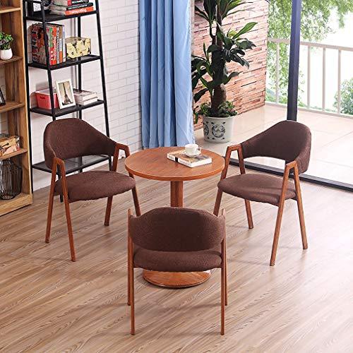 GZLL 4 STÜCKE Esstisch Set 1 Tisch und 3 Stühle Home Restaurant Frühstück Bistro Pub Holz Küche Esszimmer Möbel Gepolsterte Sitzkissen Einfache Montage (Color : Dark Brown) -