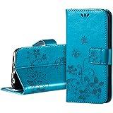 Funda para Samsung Galaxy S6 edge Libro, ZOEVIEW Carcasa para Samsung S6 edge Case de Piel PU Leather Cuero Atril con Tapa Estilo Libro Cartera Wallet,Azul