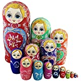 Colorful Little Girl Heart Pattern Wooden Handmade Russian Nesting Dolls Matryoshka Dolls Set 15 Pieces For Kids Toy Birthday Christmas Gift Home Decoration Collection