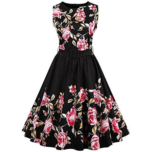 Babyonline Damen Retro Kleider Ballleid 1950er 1960er Jahre Kleid Rockabilly Housewife Hausfrau Swing Pinup Kleid Schwarz , ()