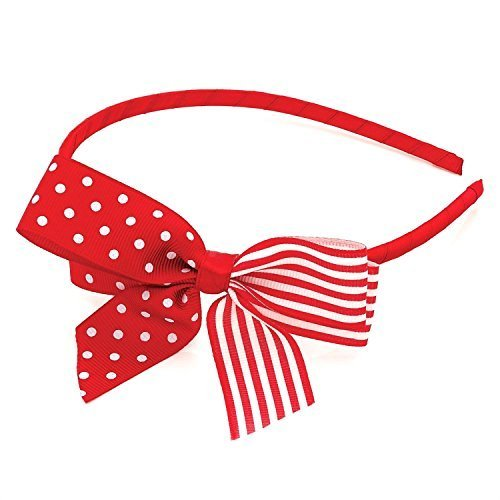 by GIZZY? Girls, Red & White Polka Dot & Stripe Bow on Headband, Alice Band.