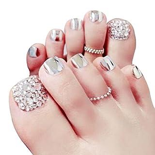 AiSi 24pcs Künstliche Fußnägel zum Aufkleben, Selbstklebender Fußnägel Nagelaufkleber, Zehennägel Aufkleber, Fußnägel Aufkleber, Fußnägel Tips Fuß Nägel(mit Nagel Schnellkleber 2g)