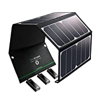 RAVPower UK RP-PC005(B) Solar Charger 24W Solar Panel with Triple USB Ports Waterproof Foldable for Smartphones Tablets and Camping Travel 17