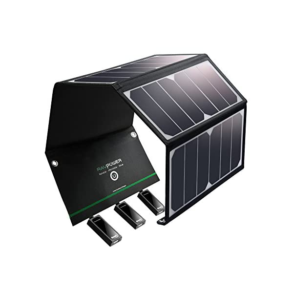 RAVPower UK RP-PC005(B) Solar Charger 24W Solar Panel with Triple USB Ports Waterproof Foldable for Smartphones Tablets… 1