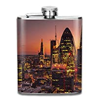 iuitt7rtree Sunset Skyscraper Building Modern London England UK Cranes (machine) Evening Cityscape Portable Stainless Steel Flagon Liquor Flask