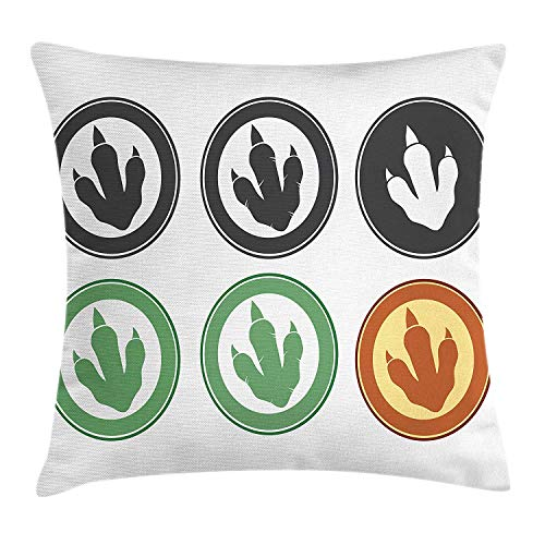 JIMSTRES Dinosaur Throw Pillow Cushion Cover, Dinosaur Footprint Designs on Circles in Pastel Colors, Decorative Square Accent Pillow Case,Jade Green Pale Caramel White Black 16x16 inches
