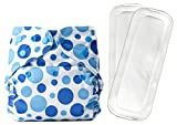 Bumberry Reusable Diaper Cover and 2 Wet Free Inserts (3-36 Months) (Blue Dots)