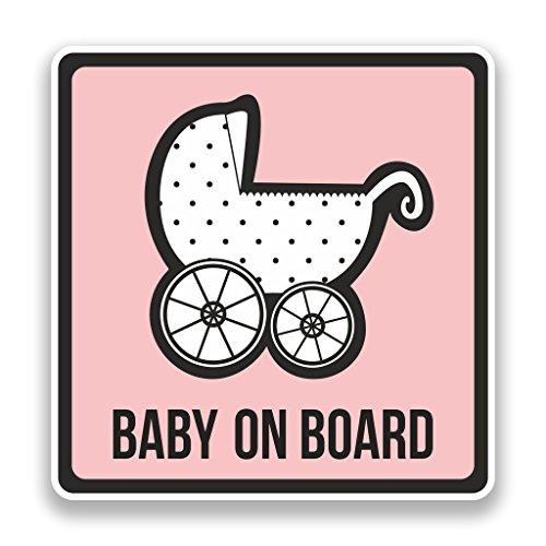 2x Pegatinas de vinilo de bebé a bordo rosa seguridad advertencia Bumper # 7302