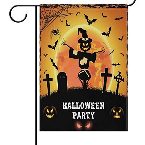 rtenflagge Halloween Kürbisschläger doppelseitig Haus Hofflagge Orange Mond Grabsteine Narbenfahne Seasonal Outdoor Flaggen Bannner 31,5x45,7 cm ()