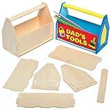 Baker Ross Kits Caisses à Outils Porte-crayons en Bois que les Enfants pourront Assembler, Décorer et Offrir pour la Fête des Pères (Lot de 3)