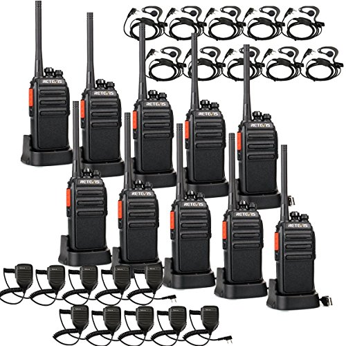 Retevis RT24 Plus Funkgerät mit Mikrofon Walkie Talkies Headset 16 Kanäle Lange Reichweite PMR446 Funkgeräte Lizenzfrei Wiederaufladbar USB Ladeschale (5 Paar, Schwarz)