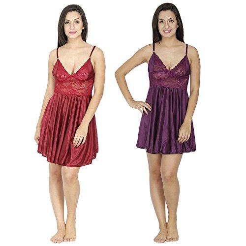 Secret Wish Women's Satin Babydoll Dress - Set of 2 (Maroon, Purple, Free Size)