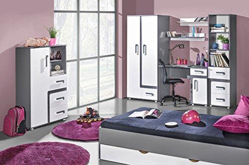 Jugendzimmer Komplett - Set B Oskar, 8-teilig, Farbe: Anthrazit/Weiß