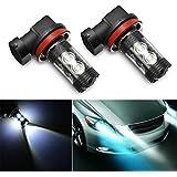 AMBOTHER 2pcs Phare Antibrouillard H11 Kit Ampoule LED Véhicule Lampe Lumière Auto 6000K Xénon Blanc 12V 50W