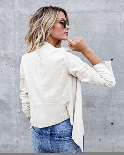 NiSeng Donne Giacca Tuta Blazer Irregolare Slim Fit Elegante Top Camicetta Breve Outwear Maglietta Beige