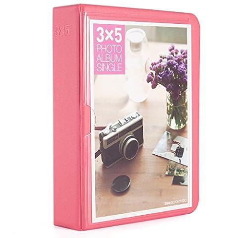 [Fujifilm Instax Foto Album] Woodmin 32 Pockets Mini Polaroid Fotoalbum für 5 Zoll Bilder,Wide 310 210, 3X5 Post Karte (Wassermelonen Rot)