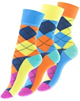 """3 oder 6 Paar knallig bunte Damen Karo Socken """"ARGYLE"""" von Vincent Creation®"""