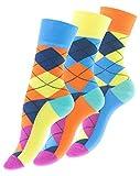 3 Paar knallig bunte Damen Karo Socken