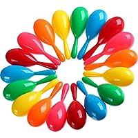 Hestya 30 Piezas de Maracas Coloridas Juguetes de Maracas de Plástico de Fiesta Juguetes de Hacer Ruido Piscina para Favores de Fiesta o Instrumentos Musicales, 6 Colores
