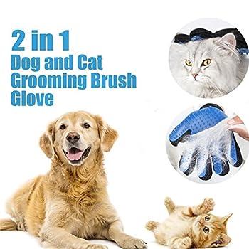 Gant de Toilettage Massage pour Chien Chat - Brosse de Nettoyage pour Animaux Poils Cheveux Longs Courts - Silicone Gant 1 Paire (Bleu)