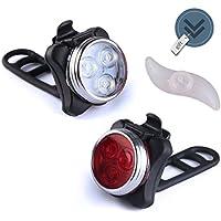 MAK-wifi Wiederaufladbare LED Fahrradlampe, Wasserdicht LED Frontlicht und Rücklicht Für Fahrrad ,2 USB-Kabel Fahrradbeleuchtung, 4 Licht-Modi LED Fahrradlicht Set + Gratis Blaue Rad Spoke