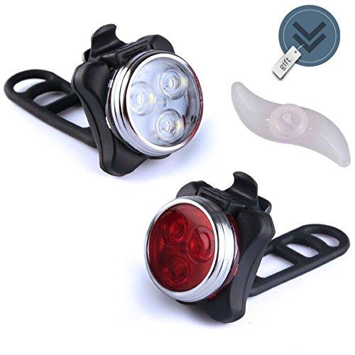 MAK-wifi Wiederaufladbare LED Fahrradlampe, Wasserdicht LED Frontlicht und Rücklicht Für Fahrrad,2 USB-Kabel Fahrradbeleuchtung, 4 Licht-Modi LED Fahrradlicht Set + Gratis Blaue Rad Spoke