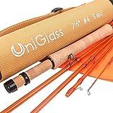 MAXIMUMCATCH UniGlass Fliegenrute Glasfaser Angelrute für Fliegenfischen Rute in 3/4/5wt (7'6'' 4wt 5 Teile)