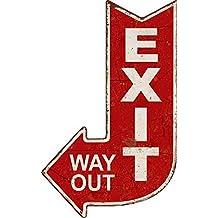 Targa pannello exit way out uscita freccia vintage pub bar metallo - Out Pannello