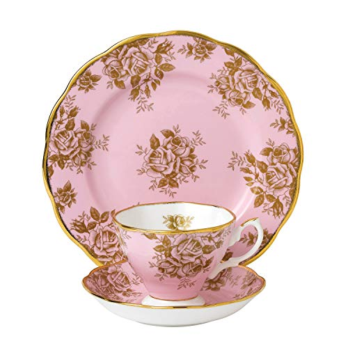 Old Country Roses Tee-set (Royal Albert 1960 Teetasse und Untertasse und Teller, 3-Teiliges Set in Gold-Rosa)