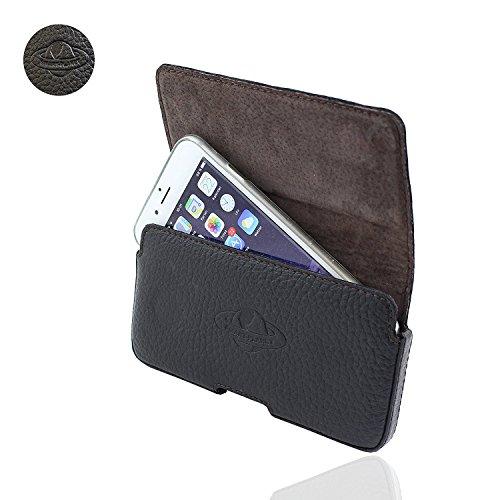 Smart Planet hochwertige Design Echt Leder Gürteltasche 2XL kompatibel mit iPhone 8 7 6 Samsung Galaxy A3 2017 LG K3 S5 Mini J1 J2 Xcover 3 Quer Tasche schwarz
