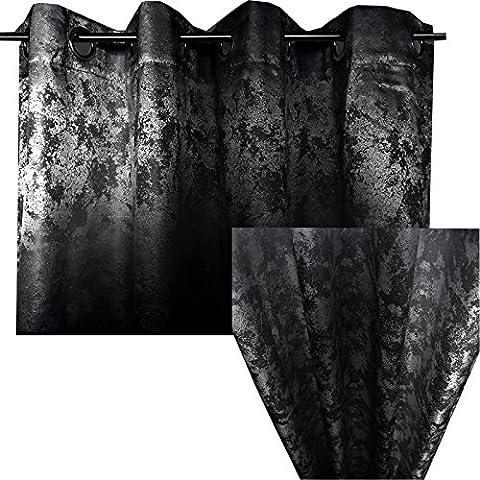 Ösenschal Blickdicht von JEMIDI Abdunkelnd Vorhang Ösengardine 140cm x 245cm Ösen Schal Gardine Fenster Dekoschal Schwarz