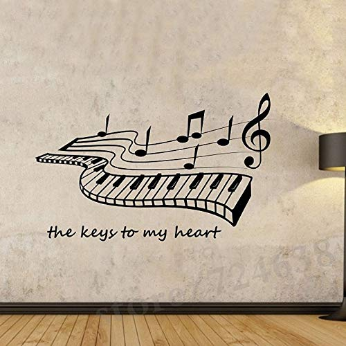 44 * 72cm The Keys To My Heart Piano Wall Stickers Music Home Decor Wohnzimmer Vinyl Wall Decals Removal