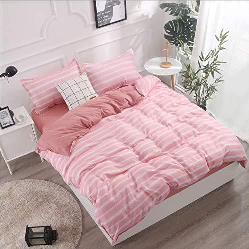SHJIA Geometrisch bedrucktes Bettwäscheset Cartoon Bettwäscheset Bettwäsche und Kissenbezüge Tröster Bettwäsche-Set Rosa 220x240cm -