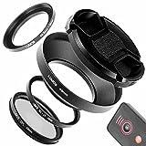Lumos 49mm Objektiv Zubehör Set für Sony Alpha 6000 mit 16-50 & 55-210 mm | Fernauslöser Metall Gegenlichtblende MC UV Filter Polfilter Step up Ring