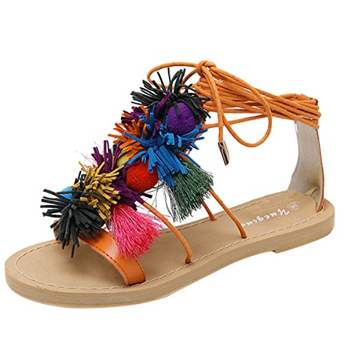 Oasap Women's Fashion Ankle Lace-up Tassel Flat Sandals Black