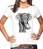 BESTHOO T Shirt Sommer Damen Kurzarm Casual Shirt Rundhals College Oberteile Elefant GedruckteT Shirt Top Klassisch Lässige Oberteile