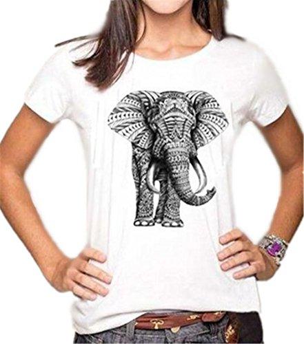 Gogofuture Sommer T-Shirt Damen Kurzarm Tops Stilvoll Klassisch Oberteile Hipster Blusen Tunika Rundhals Elefant Gedruckte Beiläufige