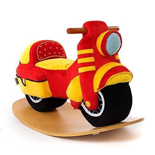 Labebe Baby Rocking Horse Wooden, Plush Rocking Horse Toy, Red Motorbike Rocking Horse for Baby 1-3 Years, Baby Rocker Chair/Baby Rocking Horse/Toddler Rocker Chair/Baby Rocker Toy/Kid Rocking Horse